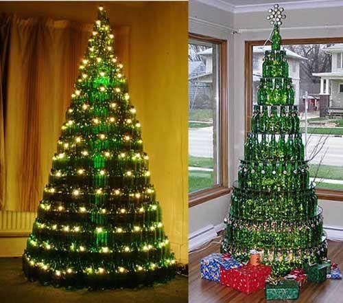 Christmas tree made of beer bottles love for all for How to make a beer bottle christmas tree