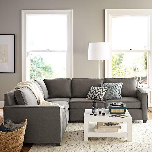 corner 2 one arm sofas left right performance velvet dove gray