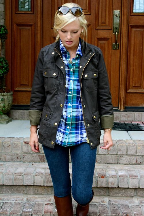 brown riding boots, jeans, plaid buttondown, jacket, outfit