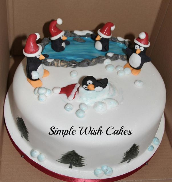 christmas cake - happy penguins christmas cakes ideas ...