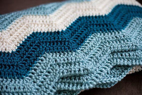 Chevron Zig Zag Crochet Baby Blanket by AllStuftUp on Etsy