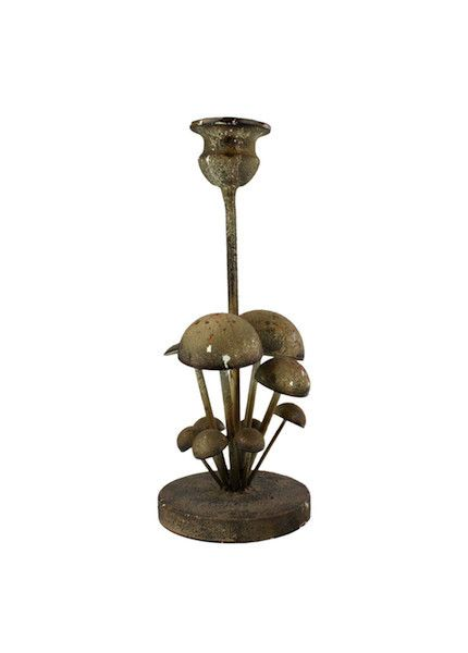 CAST IRON MUSHROOM TAPER CANDLE HOLDER