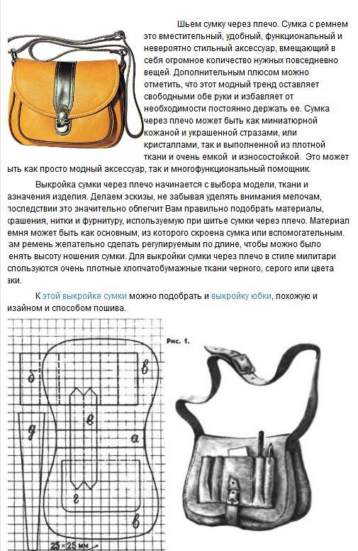 Выкройки сумок через плечо из кожи