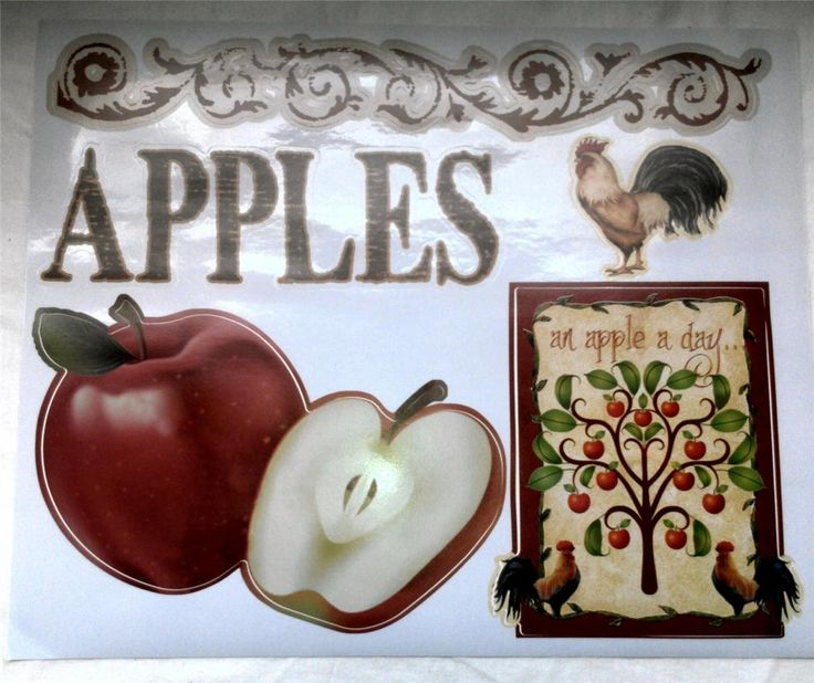 Apple rooster country kitchen vinyl decal sticker interior for Apples decoration for home