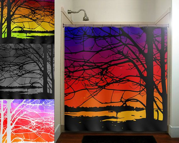 Colorful sunset bay trees shower curtain bathroom decor for Sunset bathroom designs