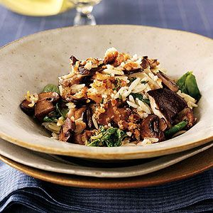 ... goat cheese and pasta water create a creamy sauce for the mushrooms in