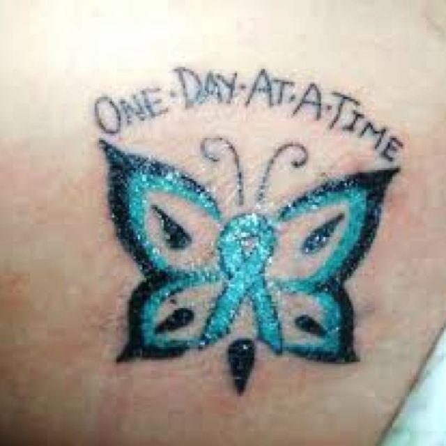 teal ribbon tattoo