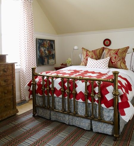 Sarah's House ~the farmhouse   Quirky Country Bedroom    A daring mix of prints creates a casual, playful bedroom.