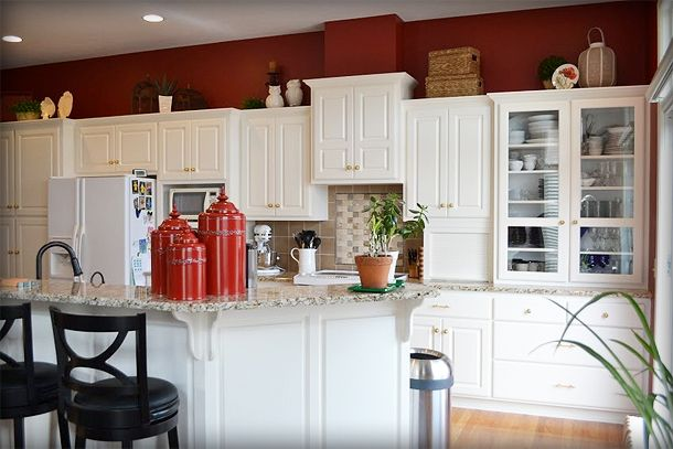 W 610 407 pixels for the home pinterest - Red kitchen white cabinets ...
