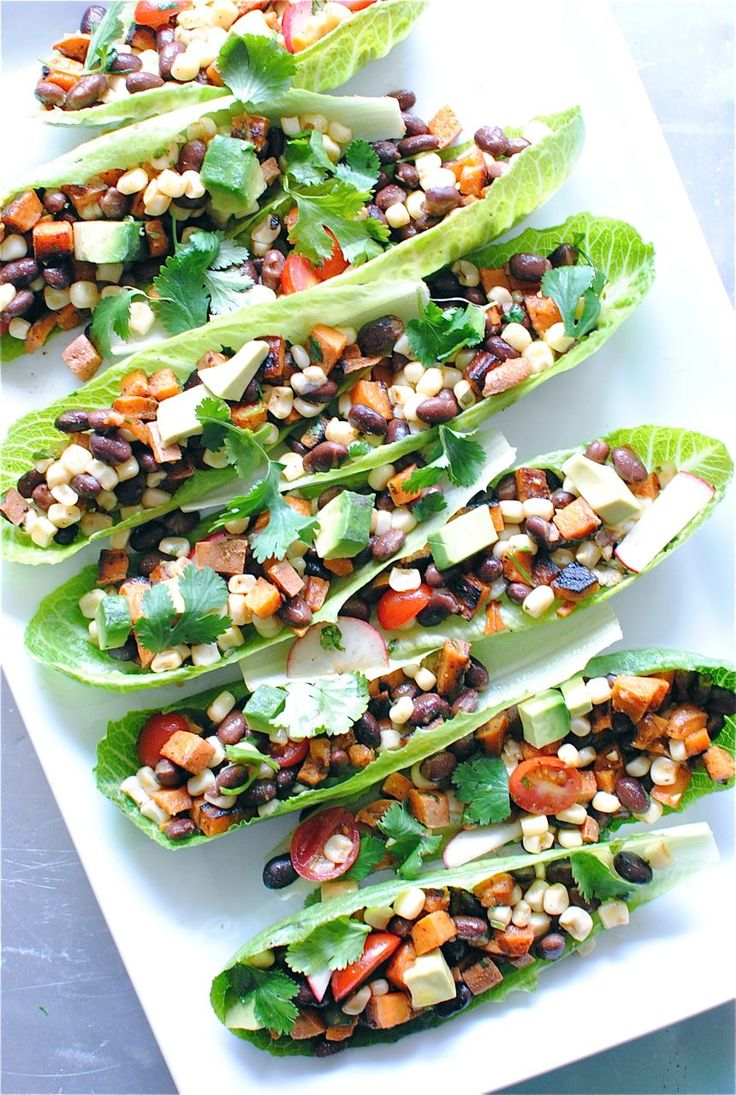 Vegetarian Mexican Salad Boats. Stick with a fat free dressing and this is one lean, mean meal.