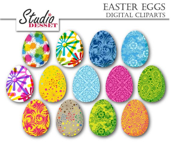Easter Eggs Cliparts, Colorful Egg, Kids Graphics, Digital Clip art ...