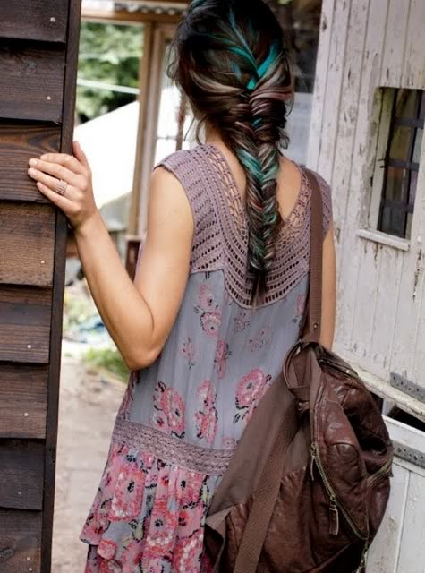 fishtail braid with teal strands ~ pretty