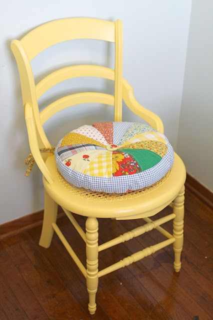Round quilted chair cushion from yellow suitcase studio