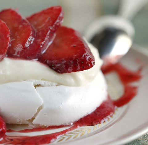 Strawberry Pavlovas with Creme Fraiche Filling -- from PDX