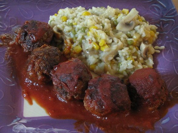 Chipotle Meatballs and Risotto Dinner | Special Dinners | Pinterest