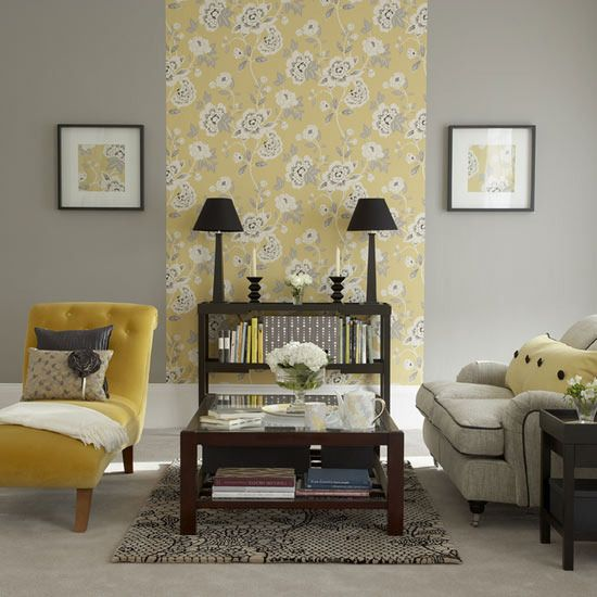 Butter Yellow, Gray, & wood.  Another restful, yet welcoming space.  Instead of color blocking with paint, here's color blocking with wallpaper... a great way to introduce some pattern without making a room too busy.