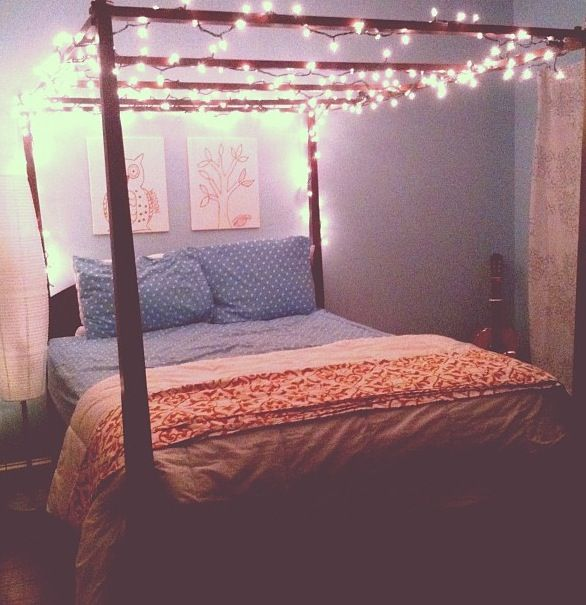 String Lights On Bed Frame : Fairy light bedroom canopy A girl can dream. Pinterest