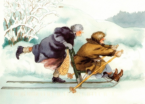 Ladies, on a sled, Winter