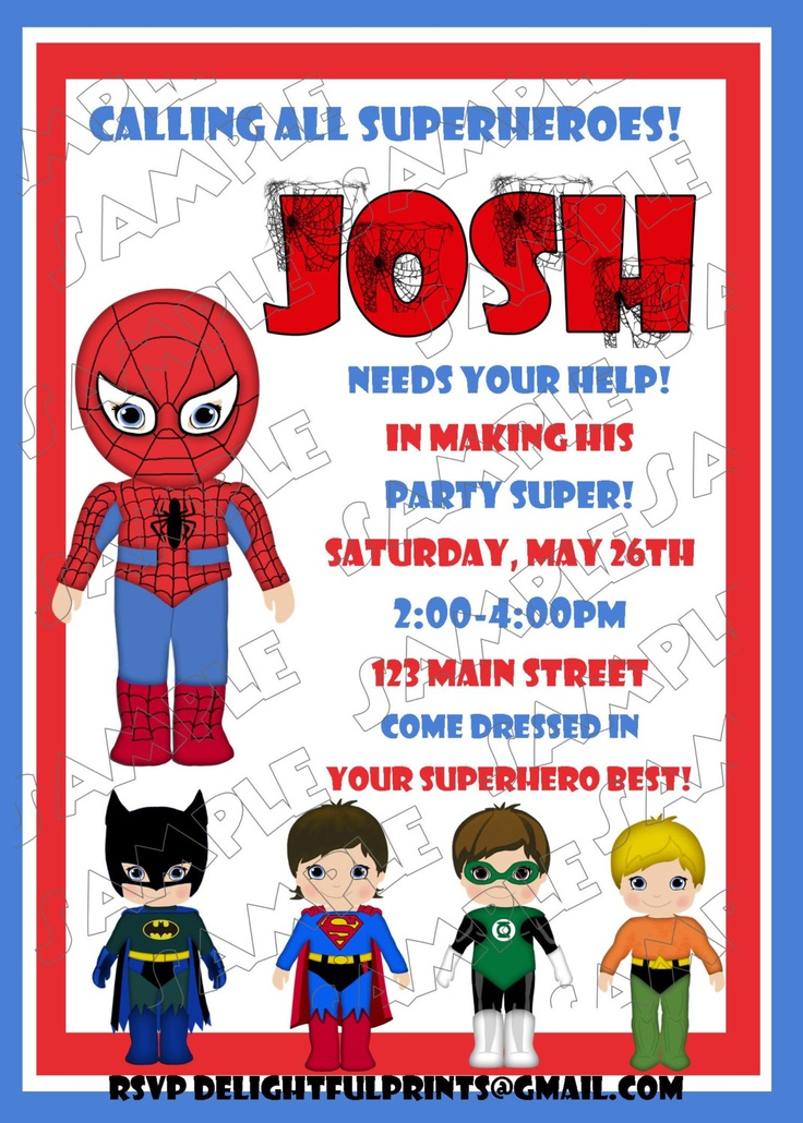 Spiderman birthday invitation and friends many colors...DIY you print ...