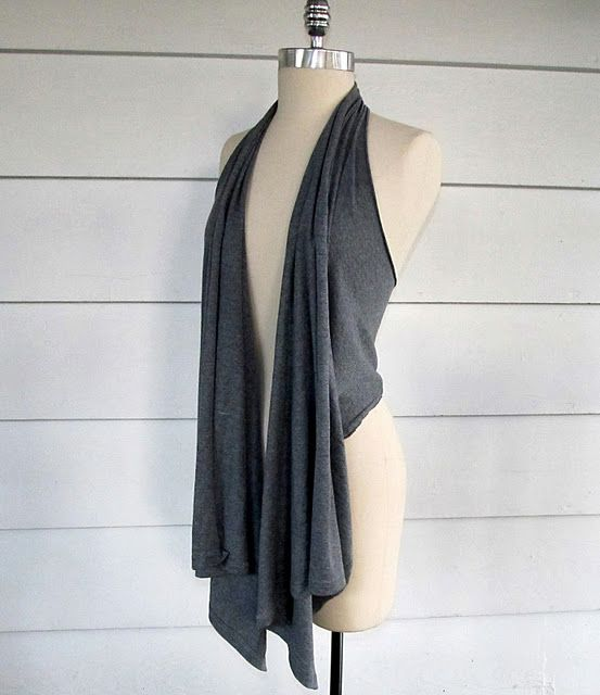 Technically there is not sewing, only cutting.. but turn an old men's t-shirt into a comfy draped vest. Looks absurdly easy.