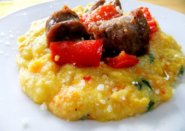 butternut squash polenta with sausage and peppers