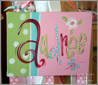 Hand Painted Canvas Bow Holder