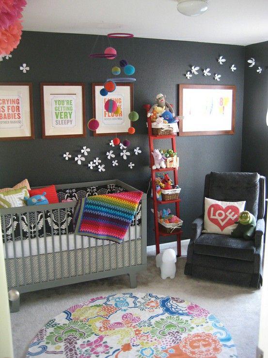 Dark walls with bright accessories