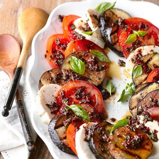 Low Carb Diet Recipes - Eggplant Caprese Salad #keto #diet #lowcarbs # ...