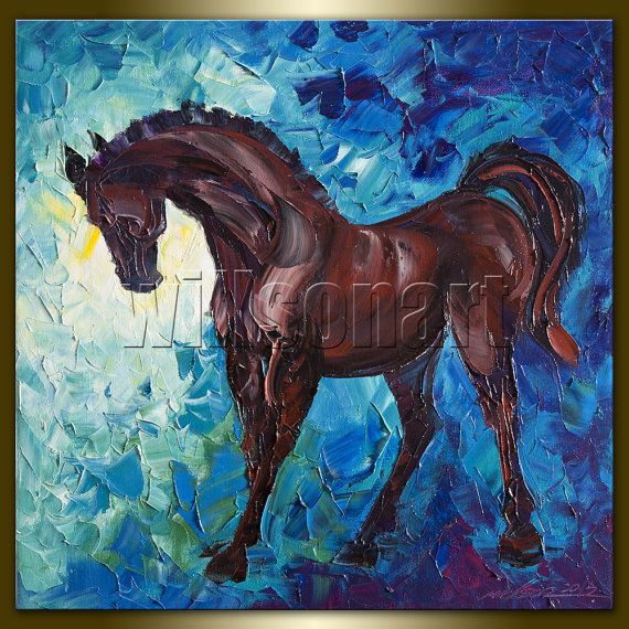 Horse Modern Oil Painting Horse Head Portrait Textured ...