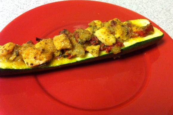 basil pesto&sun dried tomato stuffed zucchini. paleo friendly.