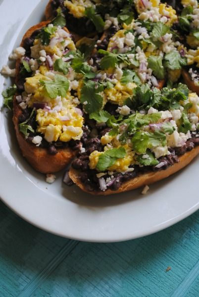 molletes - basically toast with beans, eggs, and other toppings. serve ...