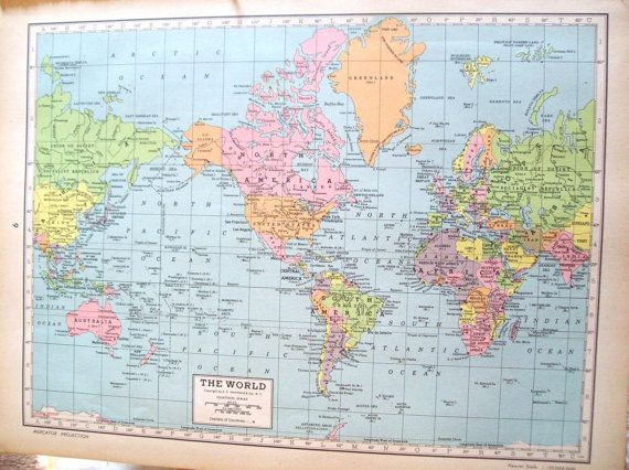 1940s The World Map and North America WWII era Wall Decor