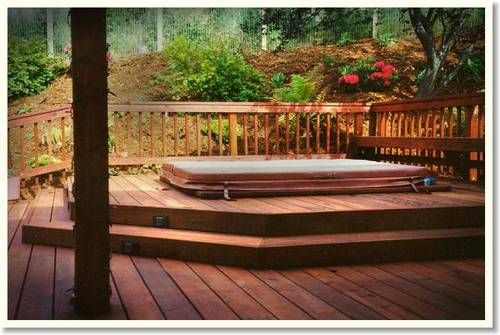 Hot tub deck designs hot tub deck1 outdoor living for Above ground pool decks with hot tub