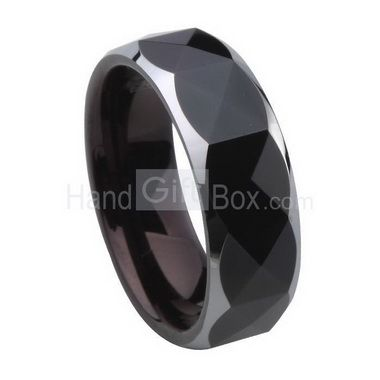 7mm Superior Black Plating Faceted Tungsten Rings #Tungsten #Jewelry