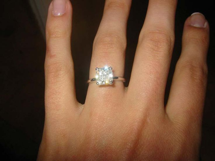 Radiant solitaire with a thin band Wedding