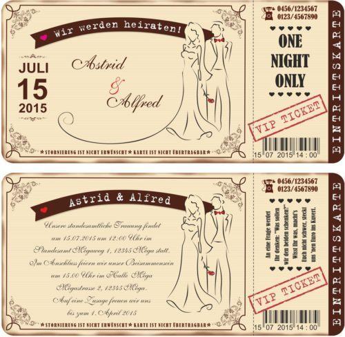 30 Stk Einladung Zur Hochzeit Vintage Eintrittskarte Ticket Karte ...