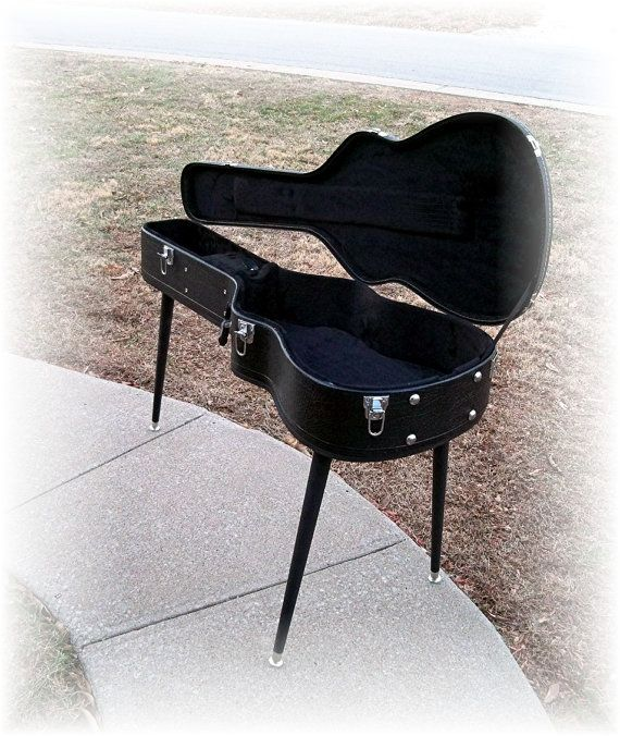 Entryway Table FENDER Guitar Case TaBLE Distressed Upcycled and ReNeWeD Side Table or. $160.00, via Etsy.