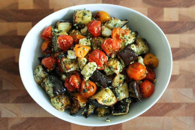 Whole Wheat Pasta With Roasted Eggplant And Tomatoes ...