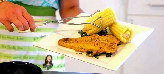 Spicy Cornmeal-Crusted Catfish with Collard Greens and Bacon ($10 or ...