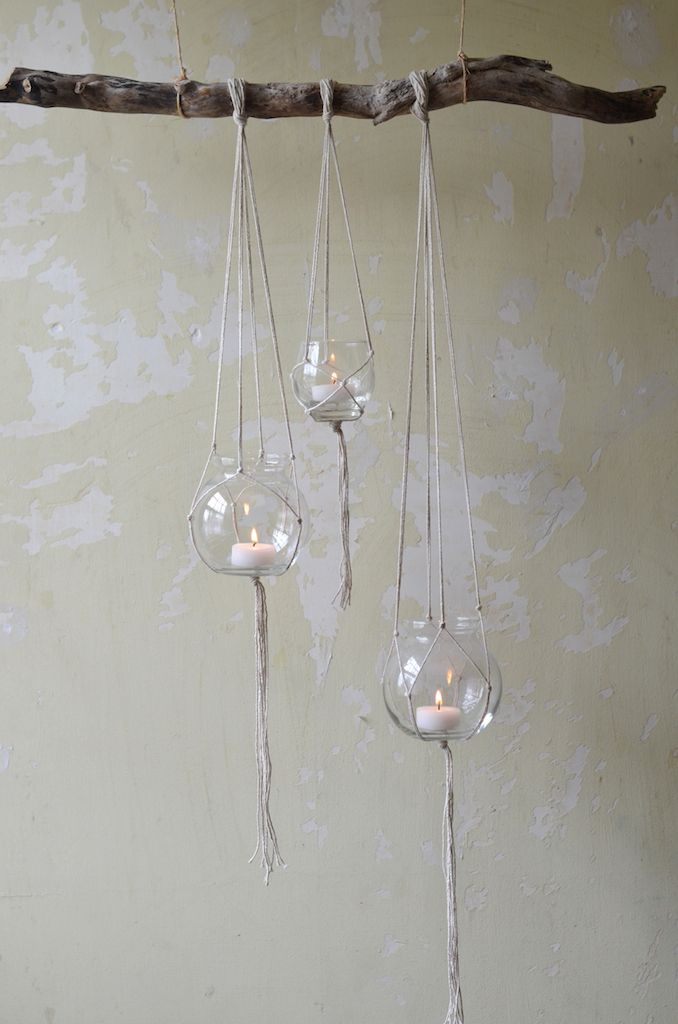 Hanging branch candle holders diy hitch it pinterest for Hanging candles diy