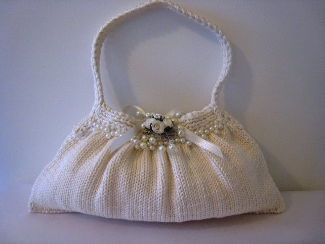 Hand Purse Patterns : Hand knitted Bridal Bag PDF Pattern