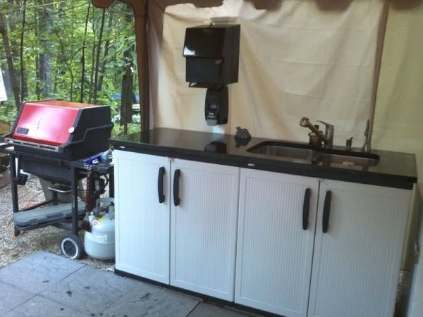 Ideas for camp kitchen now this is camping pinterest for Outdoor camping kitchen ideas