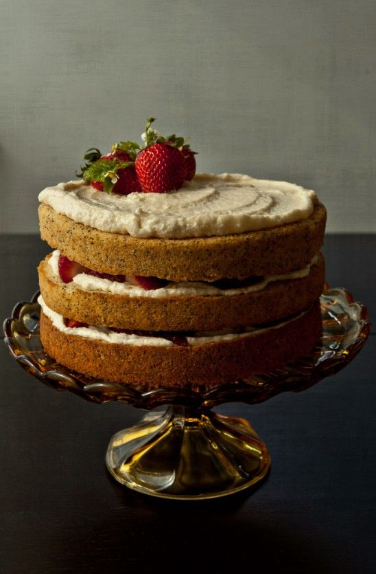 Poppy Seed Cake w/ Mascarpone Frosting & Fresh Strawberries