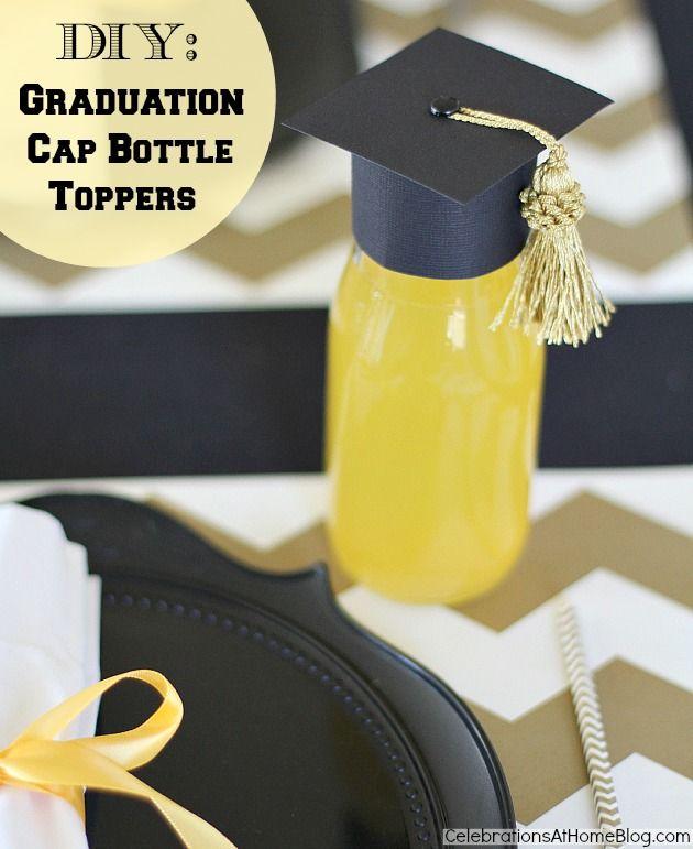 DIY :: GRADUATION CAP BOTTLE TOPPERS #graduation