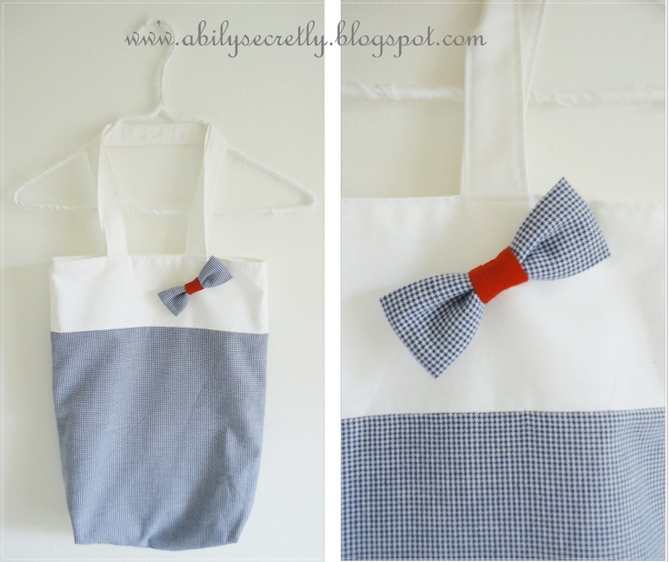 White and blue gingham bag