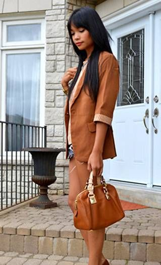 Brown Casual Jacket and Brown Handbag, Mini Short