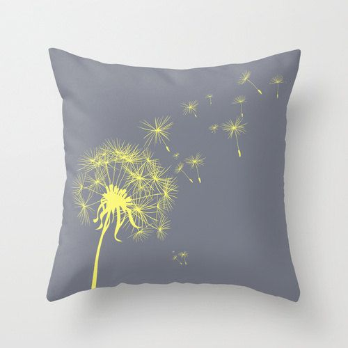 Throw Pillows Groupon : Gray and Yellow Dandelion Throw Pillow Cover