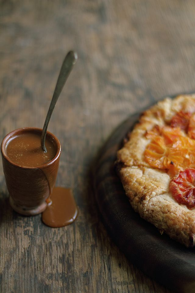 Flaky Blood Orange Tart with Salted Caramel Sauce