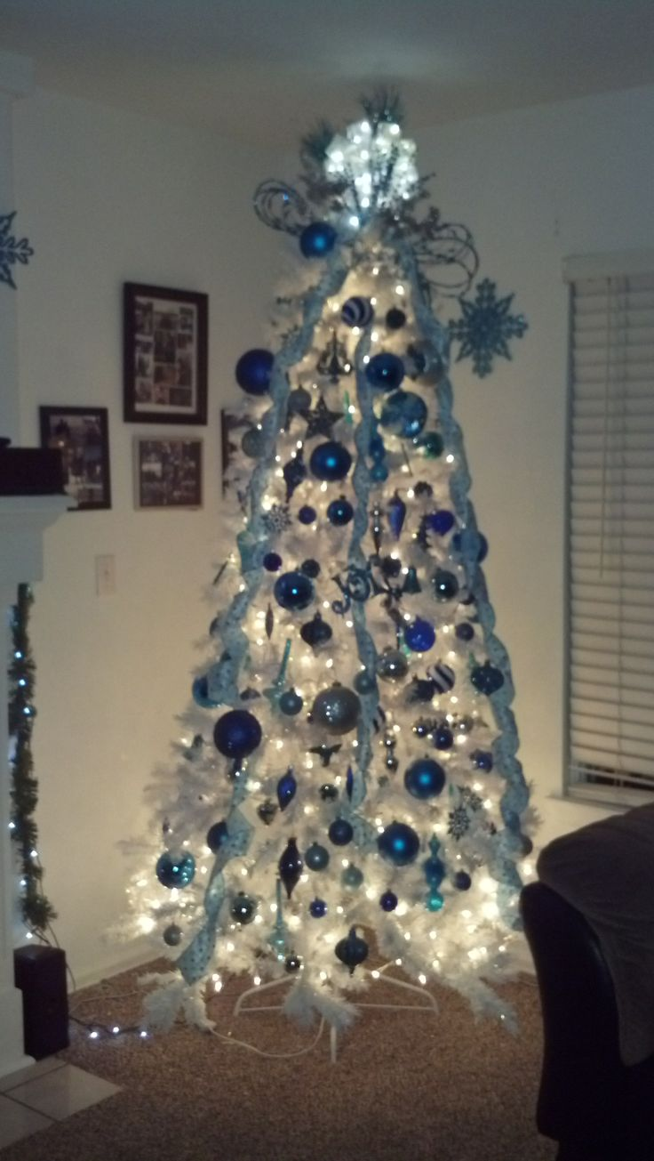 white christmas tree with silver and blue decorations - Blue And White Christmas Tree