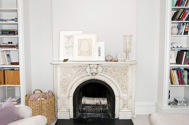 """Tom Delavan interior. """"Inspired by Cy"""" (Twombly).  How I long to have an architecturally significant mantel."""
